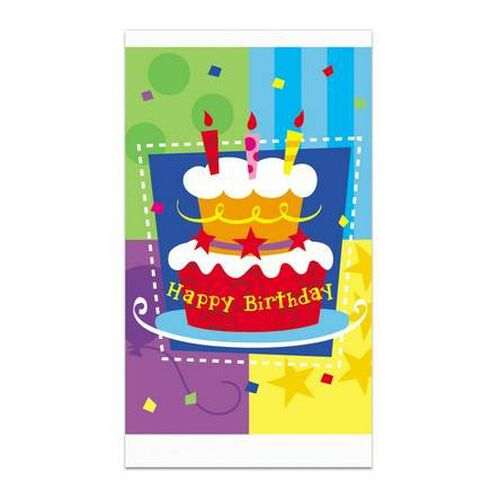 "Parties""R""Us Kord Birthday Cake 54' X 72' Tablecover, 1 Pc"