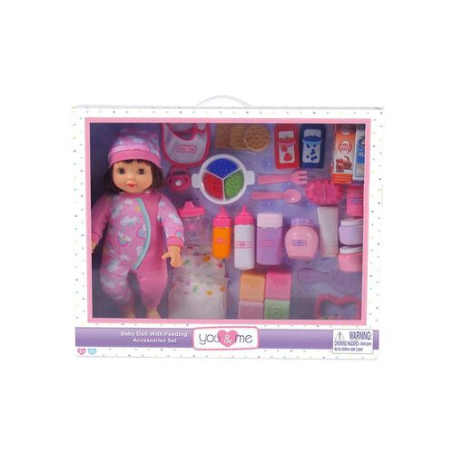 You & Me 14 Inch Doll With Feeding Accessories Set