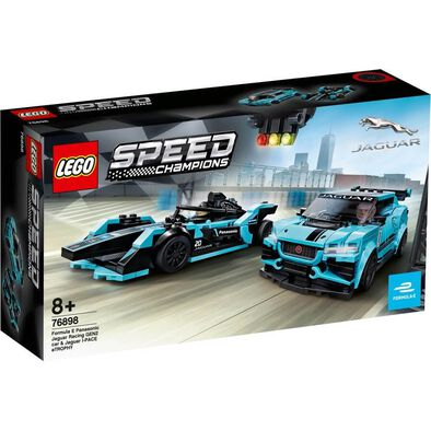 LEGO Speed Champions Formula E Panasonic Jaguar Racing GEN2 car and Jaguar I-PACE eTROPHY 76898