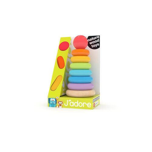 J'adore Rainbow Wooden Ring Stacker
