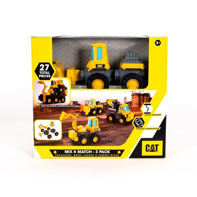 Cat Mix & Match 3 Pack Excavator, Wheel Loader & Cement Mixer