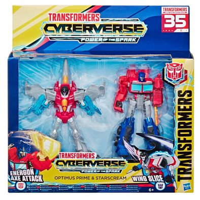 Transformers Cyberverse Power of the Spark Optimus Prime and Starscream Action Figure 2-Pack