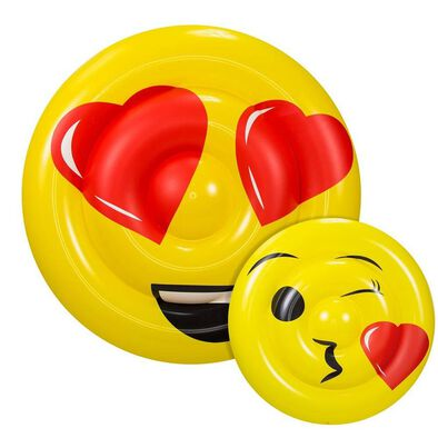 Aqua Leisure Kiss And Wink Emoji Double Sided Raft