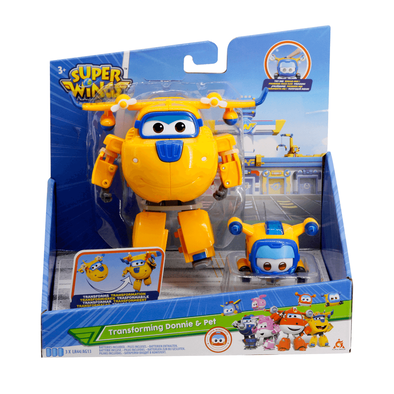 Super Wings 5 Inch Transforming Supercharged Donnie & Super Pet Donnie