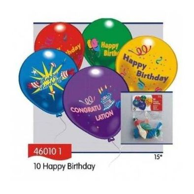 Everts 10 Pcs 12 Inches Birthday Balloons