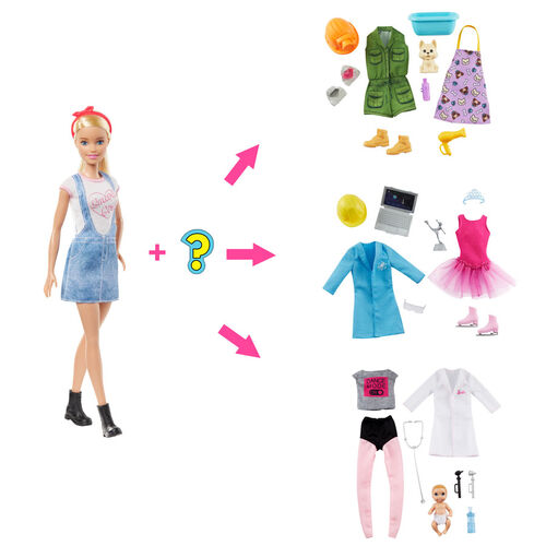 Barbie Surprise Doll Blonde with 2 Career Looks and Accessories