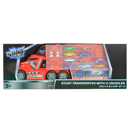 Speed City Stunt Transporter with 11 vehicles