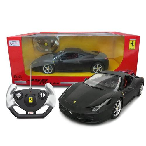 Rastar -1:14 Radio Control Licensed Car - Ferrari 458 Italia (Matt Black)