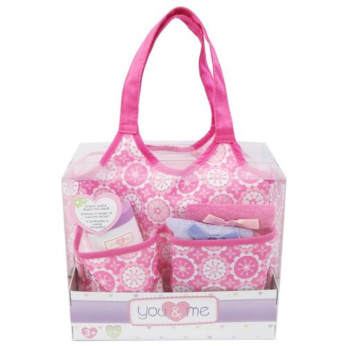 You & Me Baby Doll Diaper Tote Bag With Accessories - Assorted