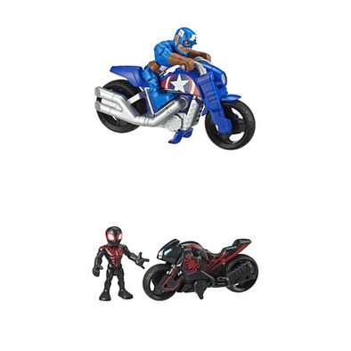 Marvel Super Hero Adventures Figure And Motorcycle - Assorted