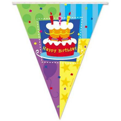 """Parties""""R""""Us Kord Birthday Cake 12'Pennant Flag Banner,1Pc"""