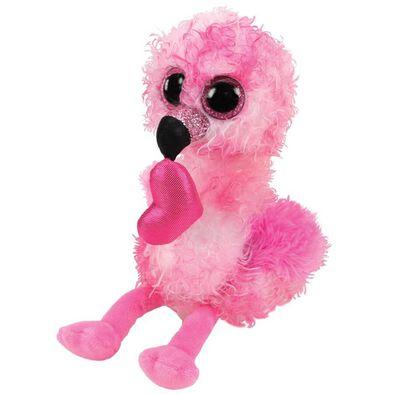 Ty Beanie Boos 6 Inch Regular Size DainTy Flamingo With Heart