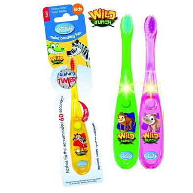 B Brite Brush Right Wave Flashing Toothbrush Wild Bunch