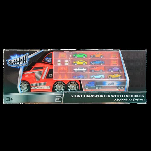 Speed City Stunt Transporter with 11 vehicles