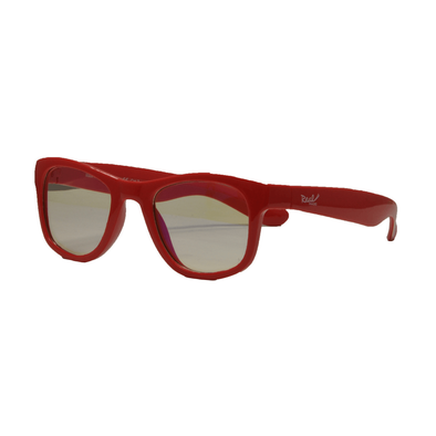Real Shades Screen Shades With Pouch 7 Years Shiny Red Iconic Style Flexible Frame With Blue Light Yellow Lens